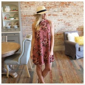 Mauve floral sleeveless dress with back detail